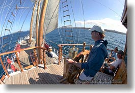 boats, ecuador, equator, fisheye lens, galapagos, galapagos islands, horizontal, islands, latin america, ocean, pacific ocean, sagitta, sails, sails up, south pacific, water, photograph
