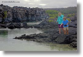 ecuador, equator, galapagos islands, horizontal, jacks, latin america, natural habitat, people, pond, tourists, water, photograph