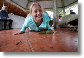 childrens, ecuador, equator, galapagos islands, girls, horizontal, latin america, natural habitat, people, shells, tortoises, photograph