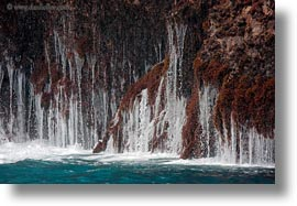 cliffs, ecuador, equator, galapagos islands, horizontal, latin america, little, santa cruz, waterfalls, photograph