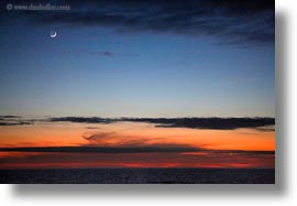 crescent, ecuador, equator, galapagos islands, horizontal, latin america, moon, scenics, sunsetn, photograph