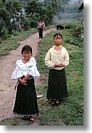 ecuador, equator, girls, latin america, people, roads, two, vertical, photograph