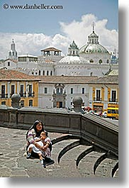 childrens, ecuador, equator, girls, latin america, mothers, quito, stairs, vertical, photograph