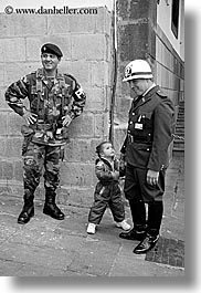 black and white, childrens, clothes, ecuador, equator, hats, latin america, men, military, quito, toddlers, vertical, photograph