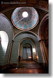 arches, archways, buildings, churches, domes, doors, ecuador, equator, latin america, materials, quito, religious, structures, sunbeams, vertical, woods, photograph