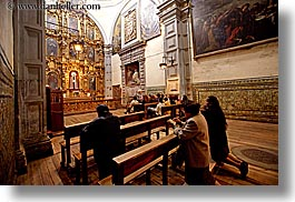 buildings, churches, ecuador, equator, horizontal, knees, latin america, people, praying, quito, religious, slow exposure, structures, photograph