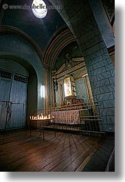 altar, buildings, candles, churches, ecuador, equator, latin america, materials, quito, religious, skylight, slow exposure, structures, vertical, woods, photograph
