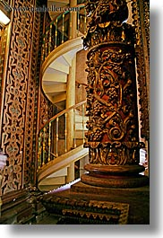 buildings, churches, ecuador, equator, latin america, materials, ornate, pillars, quito, religious, spiral, stairs, structures, vertical, woods, photograph