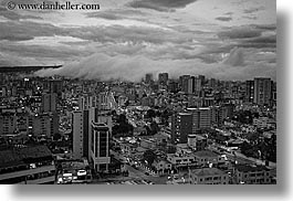black and white, cityscapes, clouds, ecuador, equator, fog, horizontal, latin america, nature, quito, sky, photograph