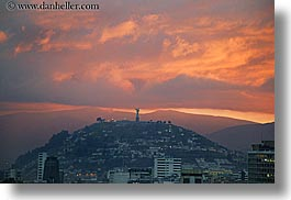 cityscapes, clouds, ecuador, equator, horizontal, latin america, nature, panecillo, quito, sky, statues, sunsets, virgin, photograph