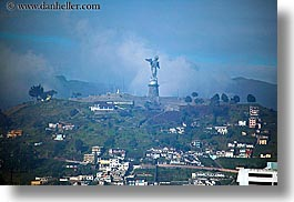 cityscapes, clouds, ecuador, equator, horizontal, latin america, nature, panecillo, quito, sky, statues, virgin, photograph