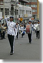 bands, clothes, drums, ecuador, equator, instruments, latin america, marching, men, music, quito, uniforms, vertical, white, photograph