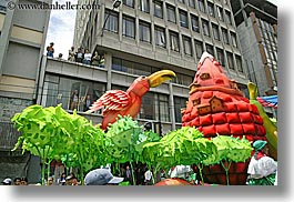 colorful, colors, ecuador, equator, floats, horizontal, latin america, parade, parrots, quito, photograph
