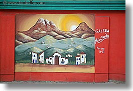 colors, ecuador, equator, horizontal, latin america, murals, quito, red, scenics, photograph