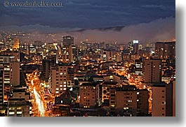 cityscapes, clouds, ecuador, equator, fog, horizontal, latin america, light streaks, lights, long exposure, nature, nite, quito, sky, traffic, transportation, photograph