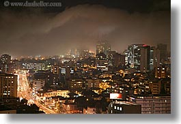 cityscapes, clouds, ecuador, equator, fog, horizontal, latin america, lights, long exposure, nature, nite, quito, sky, traffic, transportation, photograph