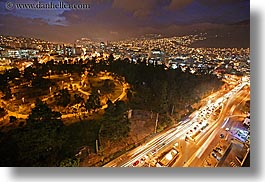 cityscapes, clouds, ecuador, equator, horizontal, latin america, light streaks, lights, nature, nite, quito, sky, slow exposure, traffic, transportation, photograph