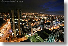 cityscapes, ecuador, equator, horizontal, latin america, lights, long exposure, nite, quito, traffic, transportation, photograph