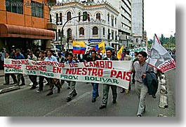 banners, ecuador, equator, horizontal, latin america, parade, people, political, quito, photograph