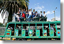 bus, ecuador, emotions, equator, happy, horizontal, latin america, people, political, quito, teenagers, photograph