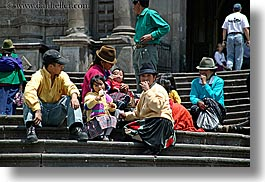 eating, ecuador, equator, families, horizontal, latin america, people, quechua, quito, stairs, photograph