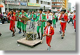 clothes, ecuador, equator, green, hats, horizontal, latin america, parade, people, quito, red, uniforms, photograph