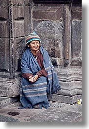 beggar, ecuador, emotions, equator, happy, latin america, people, quito, senior citizen, smiles, vertical, womens, photograph