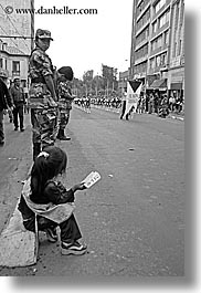 black and white, ecuador, equator, girls, latin america, parade, people, quito, vertical, watching, womens, photograph