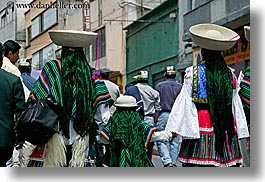 bollo, clothes, colors, ecuador, equator, garb, green, hats, horizontal, latin america, people, quechua, quito, womens, photograph