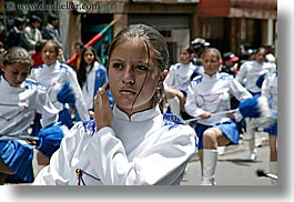clothes, ecuador, emotions, equator, girls, horizontal, latin america, majorettes, people, quito, serious, teenagers, uniforms, womens, photograph