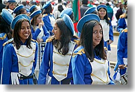 blues, clothes, colors, ecuador, emotions, equator, girls, horizontal, latin america, majorettes, people, quito, smiles, teenagers, uniforms, womens, photograph
