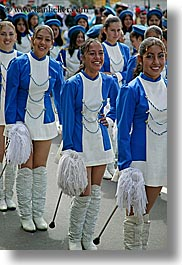 blues, boots, clothes, colors, ecuador, emotions, equator, girls, happy, latin america, majorettes, people, quito, shoes, smiles, teenagers, uniforms, vertical, womens, photograph