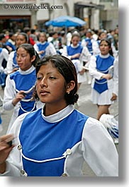 blues, clothes, colors, ecuador, equator, girls, latin america, majorettes, people, quito, teenagers, uniforms, vertical, womens, photograph
