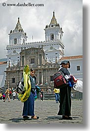 bell towers, clouds, ecuador, equator, girls, latin america, nature, people, quechua, quito, sky, vertical, womens, photograph