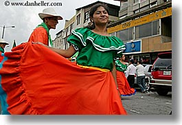 colors, dresses, ecuador, emotions, equator, green, horizontal, latin america, oranges, people, quechua, quito, smiles, womens, photograph