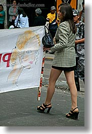 banners, clothes, ecuador, equator, high-heeled, latin america, people, quito, sexy, shoes, vertical, womens, photograph