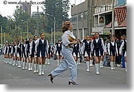 clothes, ecuador, emotions, equator, high-heeled, horizontal, humor, latin america, motion blur, parade, people, quito, running, shoes, uniforms, womens, photograph