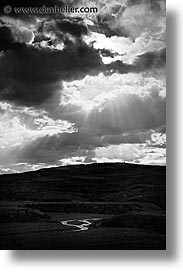 black and white, clouds, latin america, patagonia, rivers, vertical, photograph