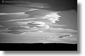 black and white, clouds, horizontal, latin america, lenticular, patagonia, photograph