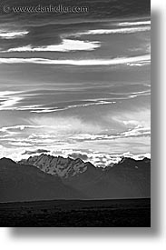 black and white, clouds, latin america, mountains, patagonia, vertical, photograph