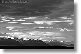 black and white, clouds, horizontal, latin america, mountains, patagonia, photograph