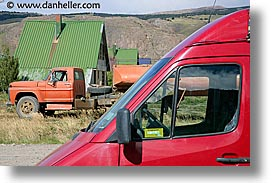 el chalten, horizontal, latin america, oranges, patagonia, red, trucks, photograph