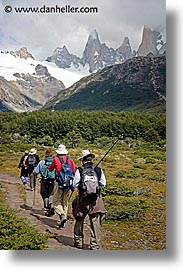 fitz roy, fitzroy, hikers, latin america, patagonia, vertical, photograph