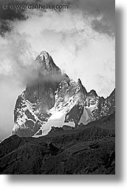 black and white, fitz roy, fitzroy, latin america, patagonia, peaks, vertical, photograph
