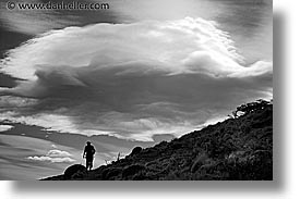 black and white, clouds, hikers, hiking, horizontal, latin america, patagonia, silhouettes, photograph