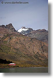 barn, lago viedma, latin america, patagonia, red, vertical, photograph