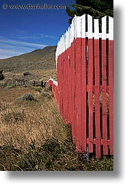 fences, lago viedma, latin america, patagonia, red, vertical, photograph