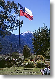 chile, flags, latin america, patagonia, vertical, photograph