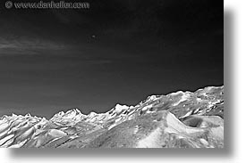 big views, black and white, glaciers, horizontal, latin america, moon, moreno glacier, patagonia, photograph