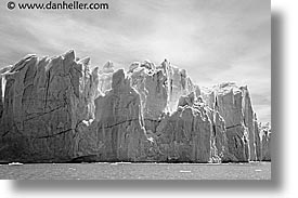 black and white, close, close ups, glaciers, horizontal, latin america, moreno glacier, patagonia, photograph